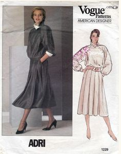 Items similar to Misses Top and Skirt Pattern, Vogue 1229 American Designers Series Adri, Loose Pullover Asymmetrical Top, Flared Pleated Skirt, Size 14 on Etsy Pleated Skirt Pattern, Skirt Patterns Sewing, Vogue Sewing Patterns, Vintage Sewing Patterns, Clothing Patterns, Vintage Vogue, Vintage Denim, Vintage Fashion, 80s Fashion