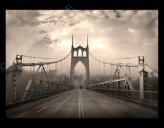 St. Johns bridge for my sleep space. Dreamy. Good work Patrick Burke via Etsy