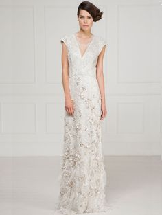 Matthew Williamson Vintage Lacquer Lace Feather Structured Gown - This made-to-order style is available at our Bruton Street store in Mayfair, London. Call 020 7629 6200 or email bridal@matthewwilliamson.co.uk for an appointment. #MatthewWilliamson #Bridal #Wedding