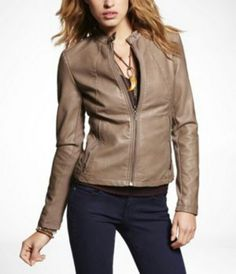 My new leather jacket.  Works great with a pencil skirt, dress pants, and jeans!