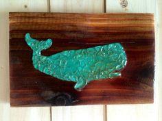 Sea glass art blue Whale nautical sea glass whale mosaic on wood ...