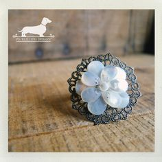 Petals of Pearl Adjustable Ring  VintageStyle by PickleDogDesign, $8.00