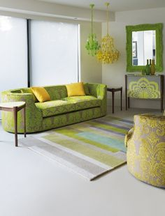 interior-green with yellow, gold and light turquoise