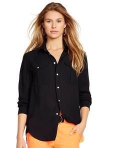 Crepe Long-Sleeve Shirt