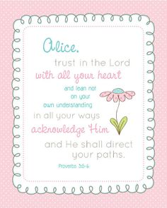 Custom NAME art prints with TRUST in the  LORD Scripture Pick Colors 8x10