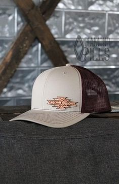 Diamond Bills The Plains Khaki Aztec Cap Khaki back and maroon back snap with an aztec leather patch. Cowgirl Outfits, Cowgirl Style, Western Outfits, Western Wear, Western Tack, Cowgirl Clothing, Gypsy Cowgirl, Cowgirl Fashion, Leather Hats