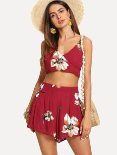 e2fa223ef72bf Shop Knot Back Surplice Crop Cami Top With Shorts online. SHEIN offers Knot  Back Surplice Crop Cami Top With Shorts   more to fit your fashionable  needs.