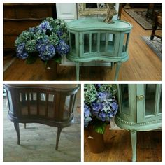 Before and after project.. Painted with Dixie Belle Mineral Paint in Sea Glass... https://www.facebook.com/2sistersdesignpauladarlenecharneco/