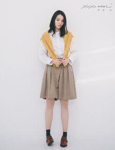 許許兒♪不對稱造型褲裙-駝色 Woolen Culottes