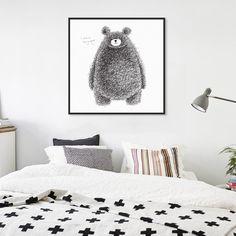 Animal Kawaii Hairy Bear Black White Minimalist Canvas Big Art Print Poster Wall Picture Kids Room Home Decor Painting No Frame