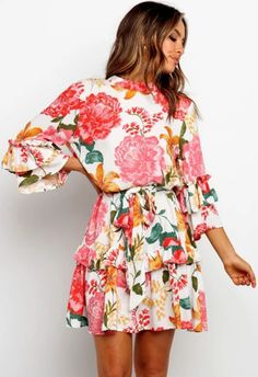 Dropship Spring Mini Dresses For Women Elegant Casual Bohemian Dress Cotton Flower Ladies Dresses Casual Ruffle Dress Floral Mini Dresses For Women, Dresses Short, Casual Dresses, Ladies Dresses, Long Sleeve Short Dress, Ruffle Dress, Ruffles, The Dress, Fashion Prints