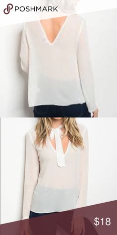 Top IVORY TOP Long sleeve neck tie chiffon blouse. & Other Stories Tops Tees - Long Sleeve