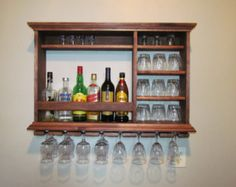 Ebony Mini Bar Wine rack 3 x 2 wall mounted Bar by DogWoodShop
