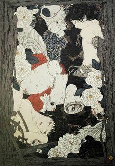 Manga Illustration, Illustrations, Japanese Horror, Creepy Art, Japanese Artists, Renaissance Art, Horror Art, Yamamoto, Erotic Art