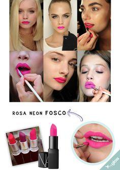 O batom rosa do momento é forte, aceso e matte (aquele efeito fosco).  http://myglossacessorios.com.br/dicas-maquiagem/batom-rosa-versao-2014