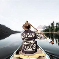 enjoying some canoeing + look at that stylin' sweater! Adventure Awaits, Adventure Travel, Alpine Modern, Canoe And Kayak, The Mountains Are Calling, Kayaking, Canoeing, I Want To Travel, Wild Nature
