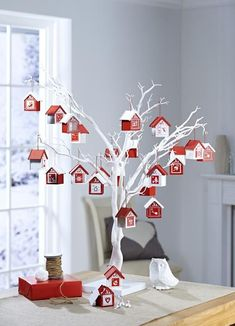 Decorative White Twig Tree Display advent houses on White Twig Tree from Hobbycraft 50 Diy Christmas Decorations, Christmas Crafts For Kids, All Things Christmas, Christmas Diy, Holiday Decor, Tree Decorations, Christmas Houses, Christmas Games, Kids Crafts