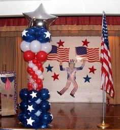 Forth of July balloon column, 4 of July event decoration www.dreamarkevents.com