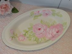 FLIRTY ROMANTIC TRINKET TRAY hp roses chic shabby vintage cottage hand painted  AVAIL ON EBAY I.D. sunny-sommers   Artist D.Sommers