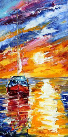 Fine art Print - Sunset Sailing - from oil painting by Karen Tarlton impressionistic palette knife fine art. $34.00, via Etsy.