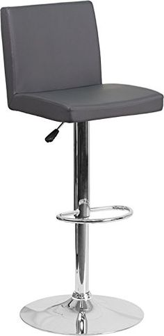 fe6d71bd0e5f Contemporary Gray Vinyl Adjustable Height Barstool with Chrome (Grey) Base