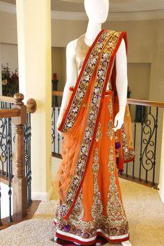 Orange color bridal lehenga choli – Panache Haute Couture #IndianFashion