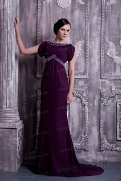 A-line Bateau Satin Evening Dress