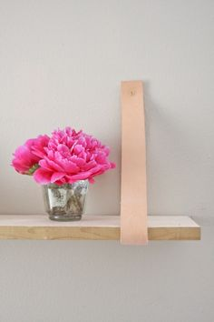 Transformed :: Wood & Leather Suspended Shelf | Camille Styles
