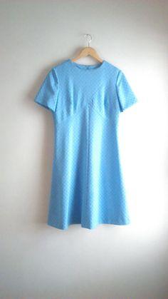 60's Baby Blue Novelty Print Mod A Line Midi Dress / Women's Modern Size L / Mad Men / Retro / Office / Airline Stewardess by JulesCristenVintage on Etsy
