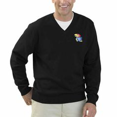 Kansas Jayhawks Clubhouse V-Neck Sweater – Black - $44.99