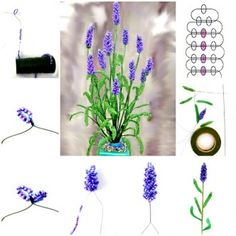 DIY bead lavender bouquet tutorial, instruction.  Follow us: http://on.fb.me/1rWIbQo