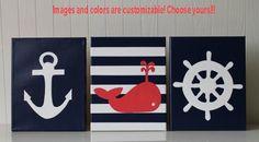 Nautical Nursery Decor Painting  Anchor Whale Nursery Ship's Wheel Navy Coral White Nautical Wall Art Nautical Painting