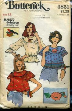 Butterick 3851, from popular designer Betsey Johnson, when she was with Alley Cat in the 1970s.  Blouse and Applique & Embroidery Transfers.  Loose-fitting, pullover blouse gathered into shaped front and back yoke, with round neckline.