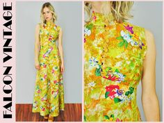 Vtg 70's Yellow Floral Boho Hippie Festival Party Dress Small/S