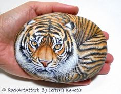 Original Hand Painted Tiger On A Smooth Rock Is by RockArtAttack