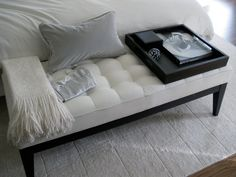 Tufted bench for the end of the bed // Moth Design blog