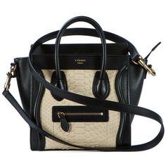 Celine   Celine Nano Luggage Boston Bag Tote Beige Python Black Leather