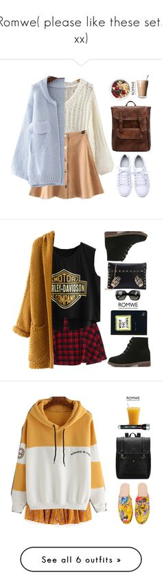 """Romwe( please like these sets xx)"" by gabygirafe ❤ liked on Polyvore featuring outfit, romwe, gethelook, GetTheLook, morning, Bottega Veneta, Urban Outfitters, Coleman, Victoria Beckham and lovely"