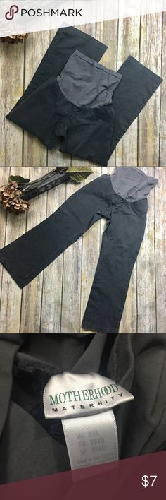 Motherhood Gray Maternity Pants Gray maternity pants with long belly band. Size large . Pants have washing wear(pilling) Soft comfortable material. Pockets on sides. 30 inch waist without stretching material. 28 inch inseam. Polyester and spandex material. Motherhood Maternity Pants Trousers