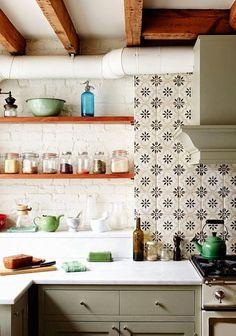 White brick shelves tile