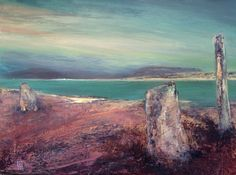 Giuliana Criscuolo -  Three standing stones at Brodgar - Acrylic and gesso on canvas  - 40 cm x 50 cm