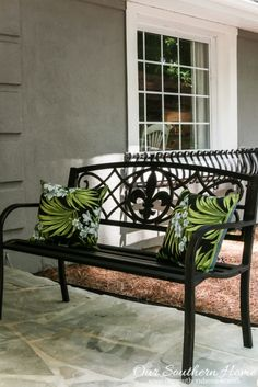 affordable outdoor decor front porch benchfront
