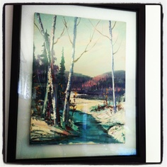 $2 oil painting garage sale find, $30 frame-$32 artwork I love! You don't need to spend a lot of $$ for great artwork !