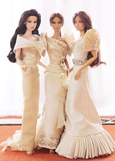 "A Toy a Day 163/365 ~ ~ Celebrating the 116th Anniversary of Philippine Independence ~ Beautiful Philippine Terno-inspired dresses by the masters... On Agnes: by Manolito Paul Garcia... On Natalia: ""Maruja"" by Anj Calvo... On Anja: ""Kabibe"" by Cholo Ayuyao"