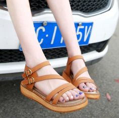 {D&H}PLUS SIZE Rome Style Gladiator Sandals For Women Flats Casual Sandals Women Summer Shoes Woman