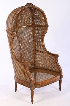 """""""It is my belief that all garden rooms yearn for one of these"""" ~*~ 19th century Louis XVI style porter chair having carved domed top, sides, and seat. All raised on turned and fluted legs ..."""
