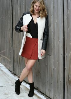 The Kissing Booth Blog - Work wear - color block dress with leather detail coat