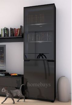 96c7dcd67a3 Black High Gloss Tall Display Cabinet Shelving Unit LED Light Lounge  Furniture Black Display Cabinet
