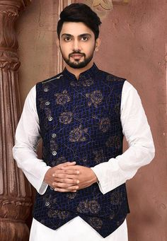 Golden Printed Art Silk Asymmetric Nehru Jacket in Black Wedding Kurta For Men, Wedding Dresses Men Indian, Wedding Dress Men, Nehru Jacket For Men, Waistcoat Men, Nehru Jackets, Designer Suits For Men, Designer Clothes For Men, Traditional Indian Mens Clothing