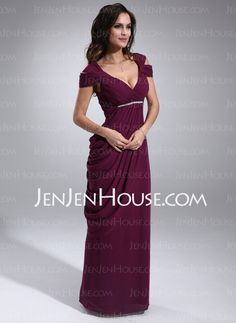 Mother of the Bride Dresses - $124.99 - Sheath V-neck Floor-Length Chiffon Mother of the Bride Dress With Ruffle Beading (008021115) http://jenjenhouse.com/Sheath-V-Neck-Floor-Length-Chiffon-Mother-Of-The-Bride-Dress-With-Ruffle-Beading-008021115-g21115